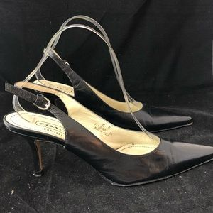 Coach Alena Black Kitten Heel Open Back (8)